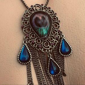 Peacock boho festival gypsy necklace vintage N20
